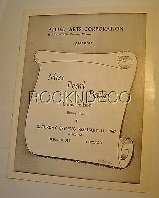 1967 Pearl Bailey Concert Program Civic Opera House Chicago Louis Bellson
