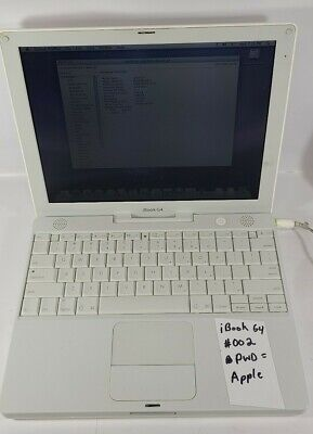 Vintage 2005 Apple G4 iBook Laptop A1133 No WiFi, 768MB Ram, Mac OS 10.5, Works!