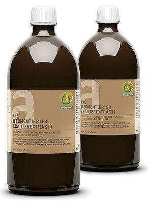FKE a, fermentierter Kräuterextrakt aktiviert, alle Tiere, 2 x 1 Liter FlascheHunde, Katze, Pferd, Hase, Hühner, Enten, Gänse, Exoten
