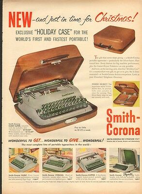 """1954 Smith-Corona PortableTypewriter Featuring """"Holiday Case""""  PRINT AD"""