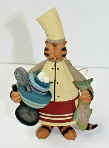 Williraye Studio Americana Folk Art Cat Chef With Fish WW7794 Iron Cat