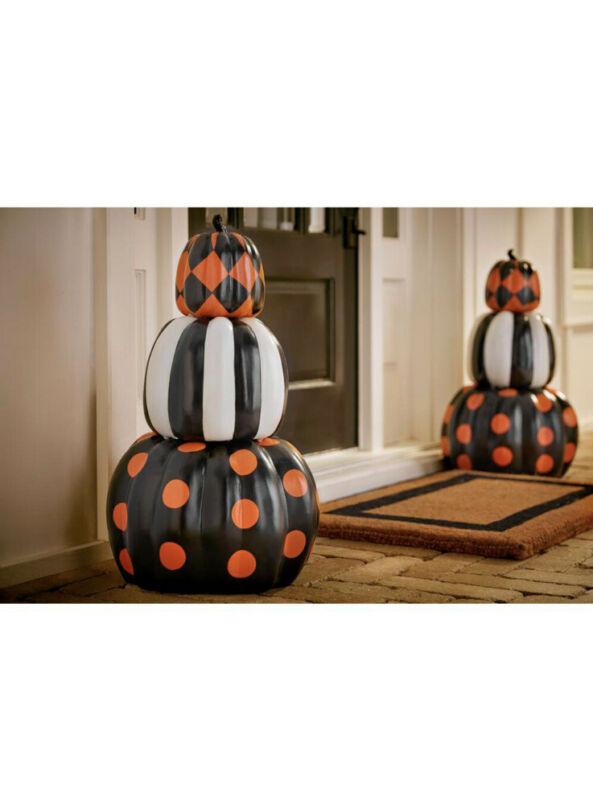 3-Piece Halloween Pumpkin New Stacked 26.5 in. Home Decor Fall Autumn Holiday