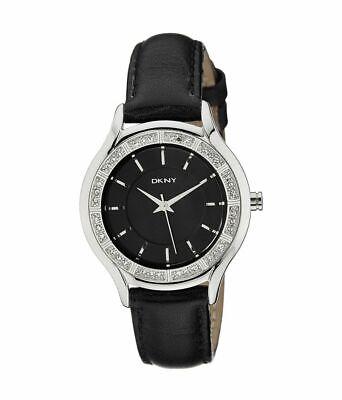 Donna Karan Analog with Glitz, Women's Watch. Black Dial and Leather Band NY8137 Analog Glitz Black Dial