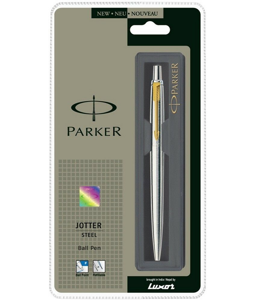 Parker Jotter Stainless Steel GT Gold Trim Fine Tip Blue Ink Ballpoint Ball Pen