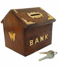 Wooden Antique Indian Hut  Handicraft Coin Box Piggy Money Bank Gift Item