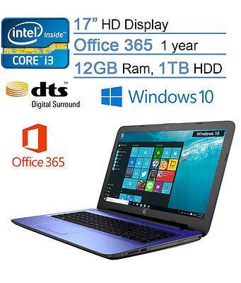 HP 17 Inch laptop I3-6100u 12GB ram 1TB hd Webcam  **includes office 365 1 year*