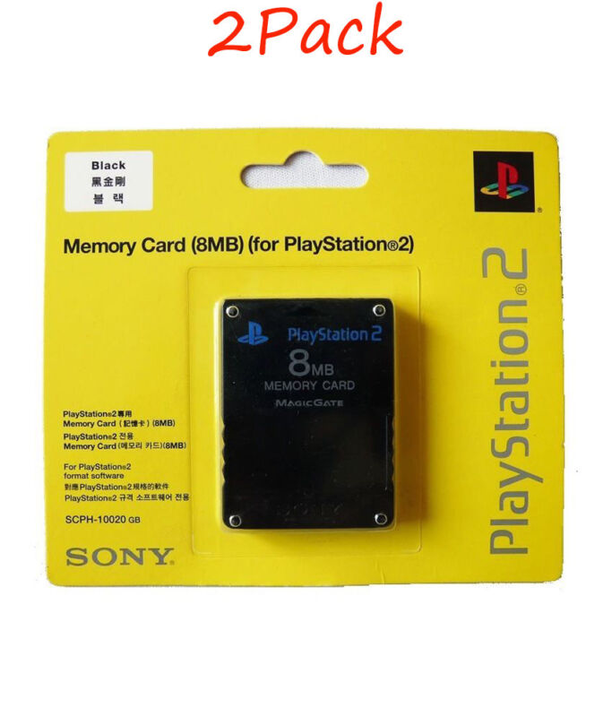 2Pcs Sony PlayStation 2 PS2 Memory Card 8MB BRAND NEW & FACTORY SEALED