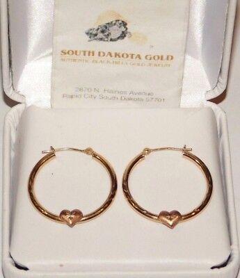 Black Hills Gold 10 kt Hoop Heart Earrings South Dakota -
