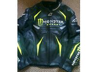 Motorcycle leather jacket monster energy