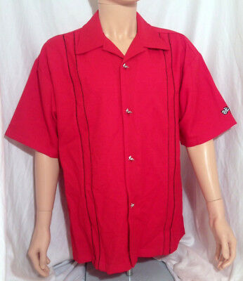 Button Down Men's Lounge Casual Shirt- Red Bowler- Vegas Style NEW NWT (Bowler Button Down Shirt)