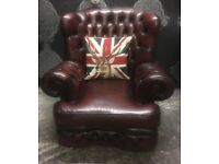 Stunning Chesterfield Monk Back Arm Chair in Oxblood Red Leather - UK Delivery