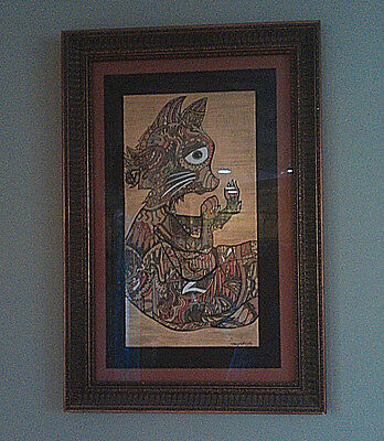 "Framed WHIMSICAL CAT Drawing SALLY STEVENS Original 24.5"" X 12.5"" Signed NATURE"