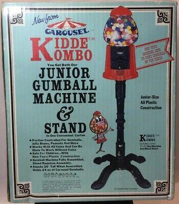 Carousel Kiddie Kombo Gumball Candy Coin Machine Black Stand Vtg 1986 NIB