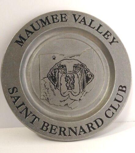 RARE SAINT BERNARD CLUB DOG METAL PLATE MAUMEE VALLEY