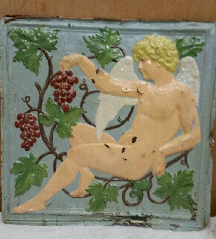 "24"" x 24"" Antique Ceiling Embossed Tin Tile Vintage Cherub ,grapes RARE. (#1)"