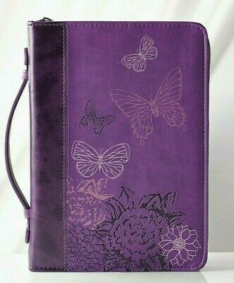 "Purple Bible Cover (Bible Cover Large 7"" x 10 1/8"" x 1 7/8"" 2 Corinthians 5:17 Butterflies)"