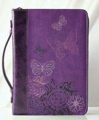 """Bible Cover Large 7"""" x 10 1/8"""" x 1 7/8"""" 2 Corinthians 5:17 Butterflies Purple"""