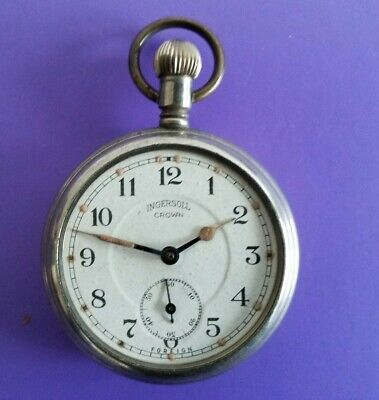 Faulty - Vintage Ingersoll Crown Hand Winding Manual Swiss Made Pocketwatch