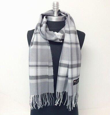 New 100% CASHMERE SCARF Check Plaid Gray / Silver SCOTLAND Wool Wrap SOFT Warm