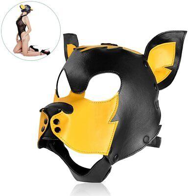 Dog Mask Leather (Utimi Bondage Hood Mask SM Bondage PU Leather Dog Puppy Slaves Hood)