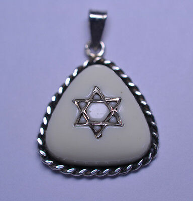 VINTAGE JUDAICA STERLING SILVER TRIANGULAR PENDANT WITH STAR OF DAVID