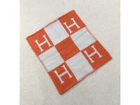 Hermes Cushion Cover Orange Check H Wool Square Nordic Style (Yeezy, Kylie, YSL, Dior, Celine)