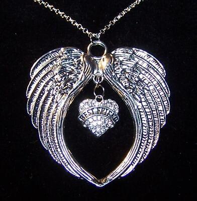 LARGE ANGEL WING PROTECT BEST FRIEND pendant Sterling Silver 925 chain 20