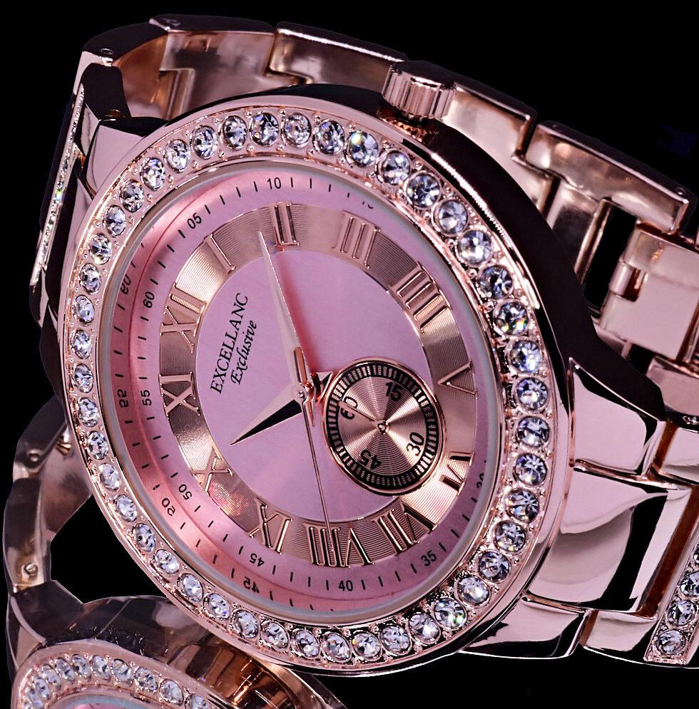 Excellanc Uhr Damenuhr Armbanduhr helles Pink Rosegold Farben Strass RI 3