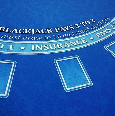 Blackjack Casino Table Layout Felt Dark Blue   / Water & Stain resistant Blackjack Table Layout