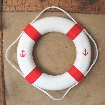 Maritime Deko Rettungsring mit 2 Anker  Ø: 50 cm rot / weiß Innen-Ø 29 cm