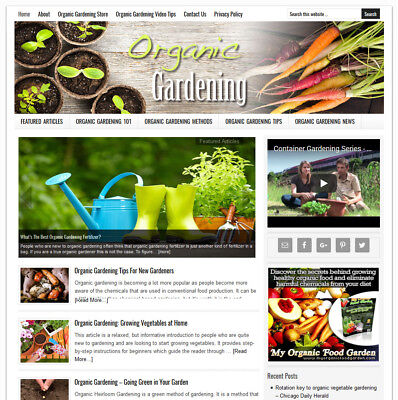 Organic Gardening Blog Website Business For Sale W Auto-updating Content