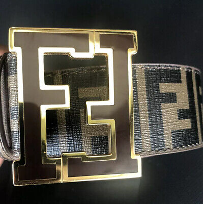 Fendi Leather Belt FF Buckle Brown Size 42/105