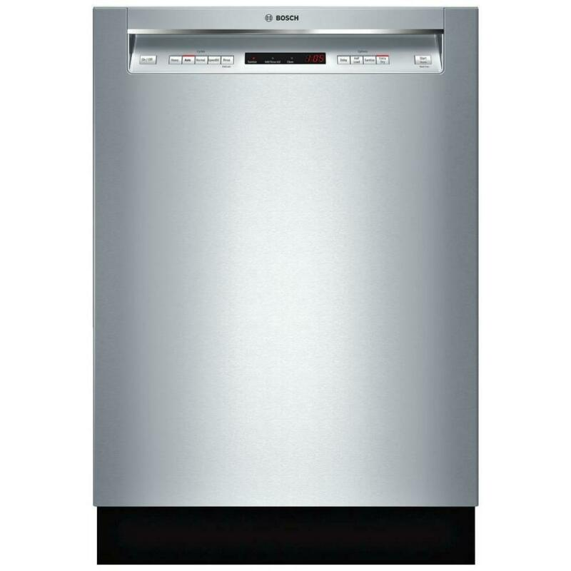 "Bosch 300 Series 24"" Recessed Handle Dishwasher with Stainless Steel Tub Stainless Steel SHEM63W55N"