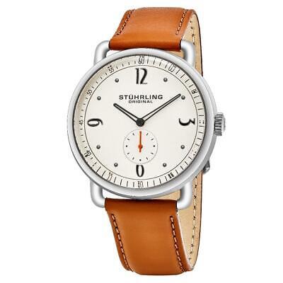 Stuhrling Original 857 04 Symphony Quartz Brown Leather Strap Mens Watch