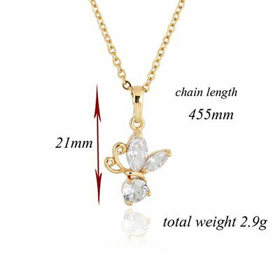 Fashion Butterfly Zircon Lady Necklace Hanging Clavicle Chain D0533 GH