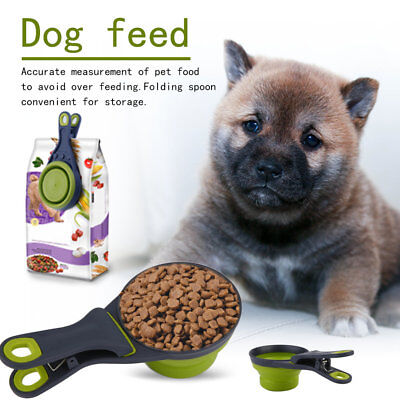 Foldable Silicone Pet Dog Sealing Clip Collapsible Measuring Cup Food Scoop GG