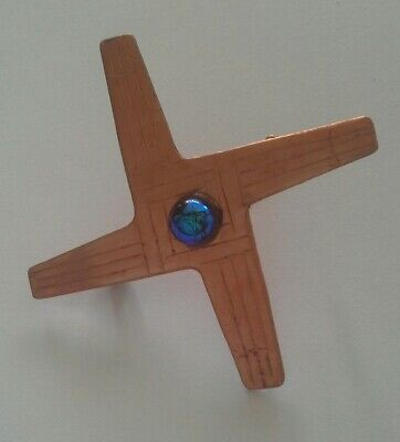 Arts and  Crafts style copper brooch. Handmade in Ireland dichroic  glass