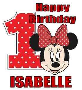 Minnie Mouse 1st Birthday Iron On Transfer w/ Name, 5