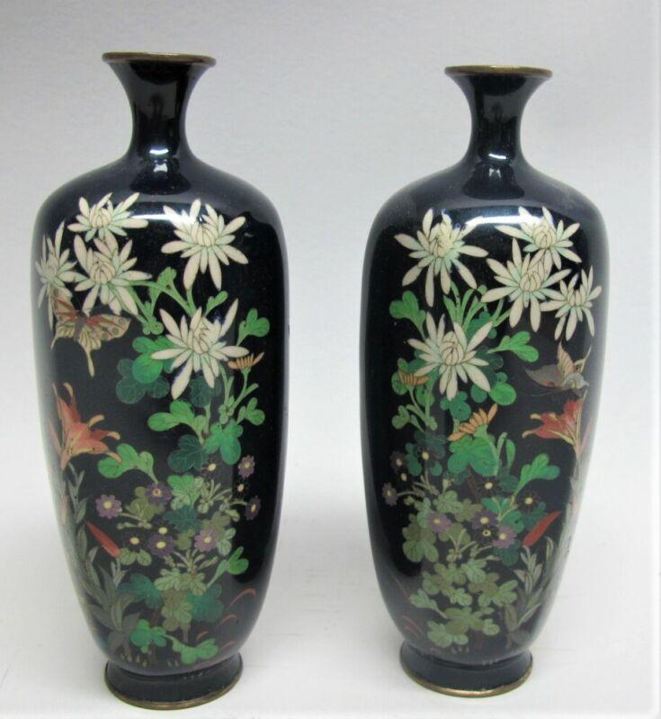 Gorgeous Pair JAPANESE MEIJI-ERA Cloisonne Vases w/ Butterfly  c. 1890  antique