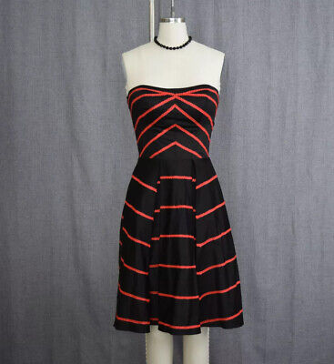 Unique Vintage Retro Strapless Halloween Cocktail Dress Black and Red Size Small