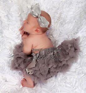 Halloween xmas newborn baby girls silver gray pettiskirt party tutu 0