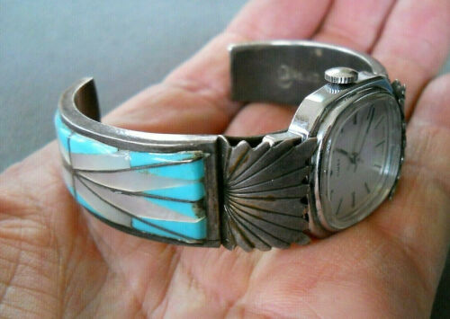 Native American Turquoise MOP Shell Inlay Sterling Silver Watch Bracelet CHAVEZ