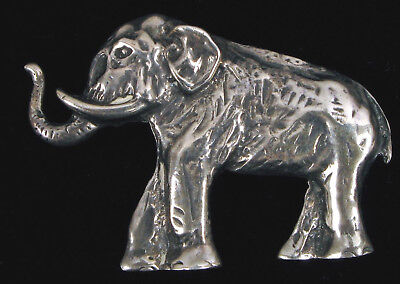 VINTAGE STERLING SILVER AFRICAN ELEPHANT WOOLY MAMMOTH BROOCH PIN HEAVY 10g