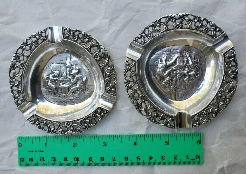 1925 Antique Dutch Sterling Silver Cigarette Ashtray Holder Dish Set of 2