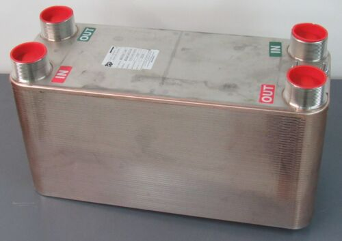"NEW Old Stock 100-Plate Brazed Heat Exchanger 150psi 333°F 2-1/2"" NPT 9"" x 24"""