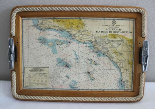 VINTAGE NAUTICAL MAP CALIF LOS ANGELES SAN DIEGO POINT ARGUELLO SERVING TRAY