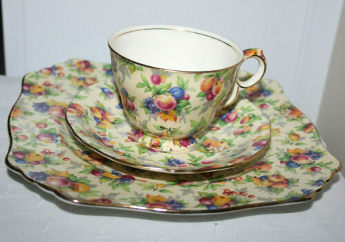 "Royal Winton Chintz ""Evesham"" Plate, Teacup and Saucer"