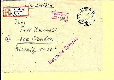 FZ Baden / BROMBACH (WIESENTAL) c 17.12.45, K2 auf Pracht-E.-Brief