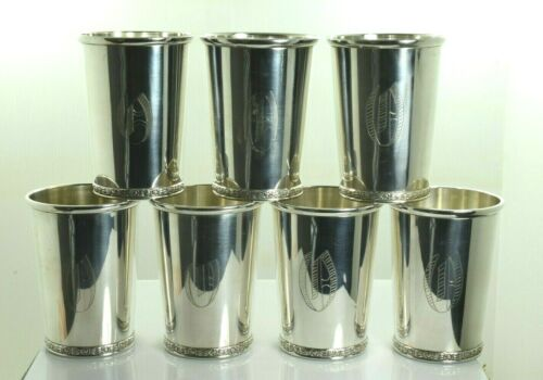 Official Kentucky Derby Mint Julep Cup Sterling Silver by BWK - Set of 7