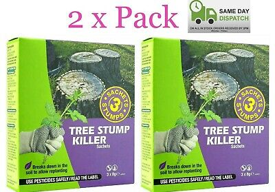 2 x Tree Stump Killer Kills Stumps Deep Roots 3 Sachet Drop & Go Weedkiller